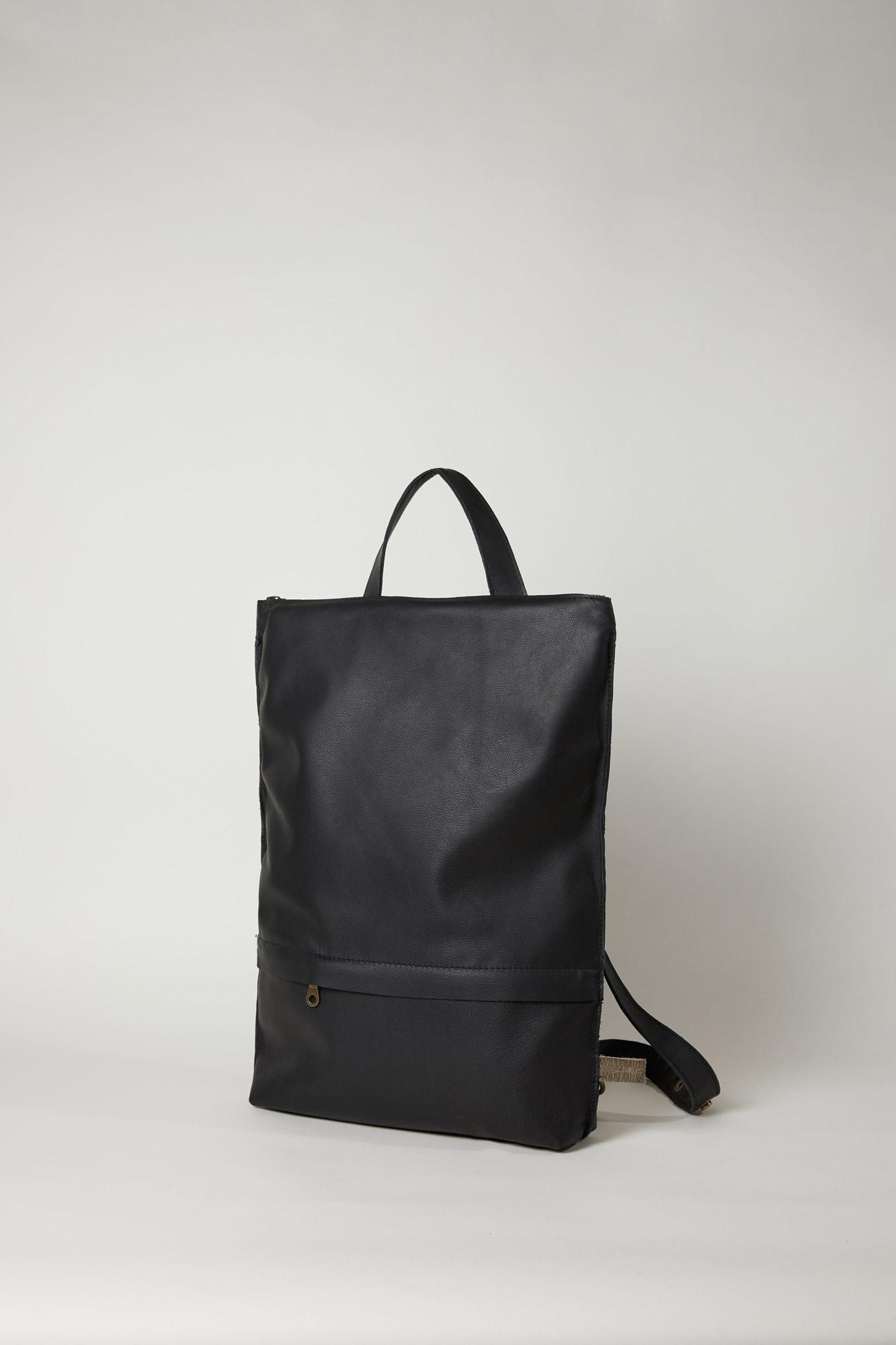 Zwarte leren rugzak backpack