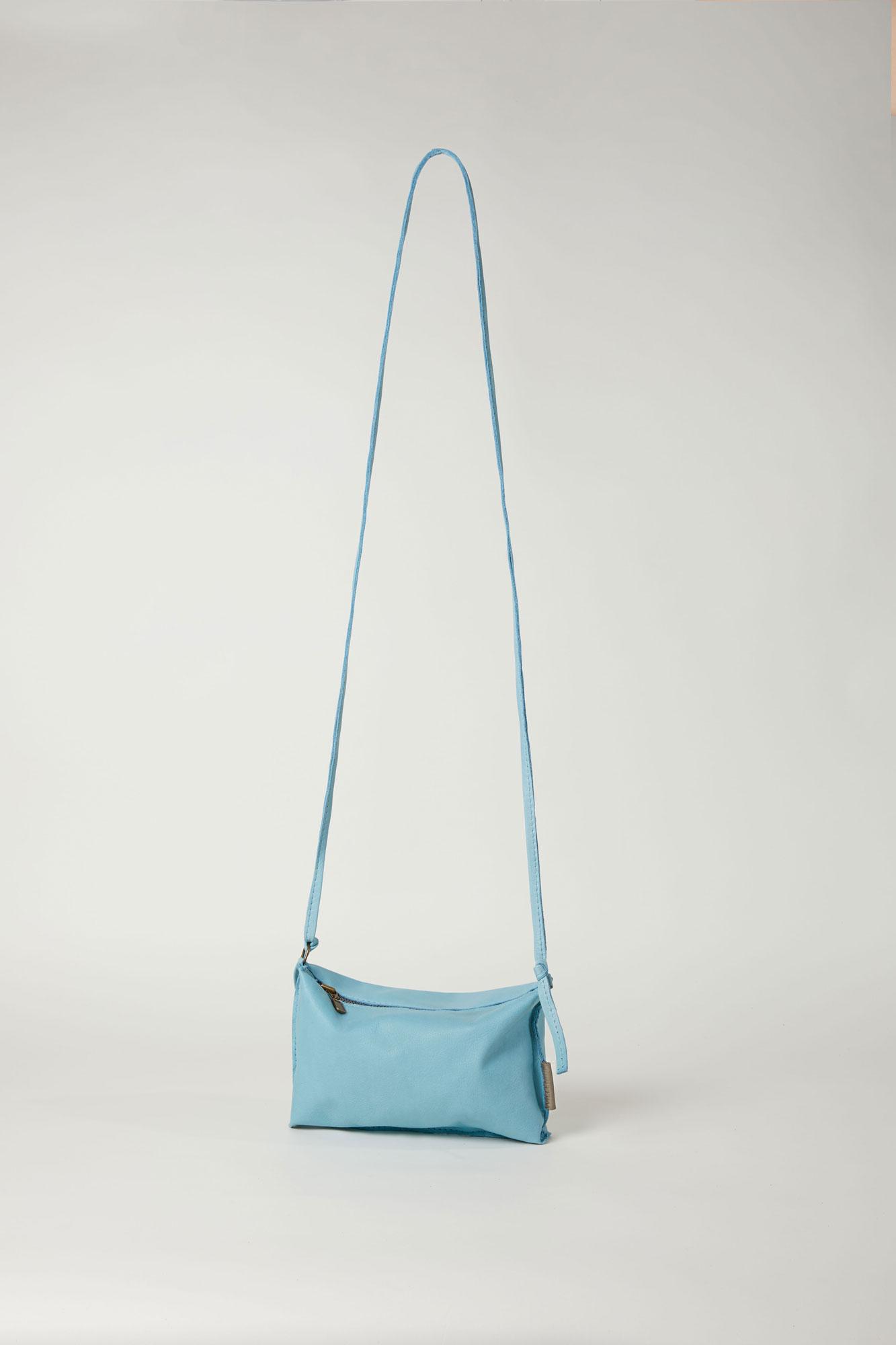 blauw leren schoudertasje